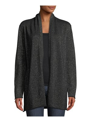 Neiman Marcus Cashmere Collection Open-Front Metallic Cashmere Cardigan