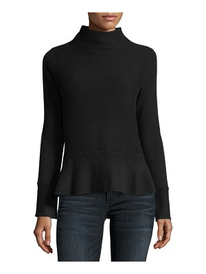 Neiman Marcus Cashmere Collection Ribbed Mock-Neck Cashmere Peplum Sweater