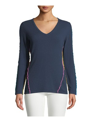 Neiman Marcus Cashmere Collection Ruffle-Trim Cashmere V-Neck Sweater