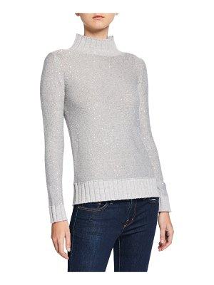 Neiman Marcus Cashmere Collection Sequin Cashmere Ribbed Turtleneck Sweater
