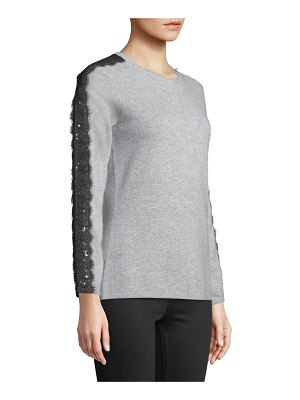 Neiman Marcus Cashmere Collection Sequin Cashmere Sweater with Sequin Lace Trim