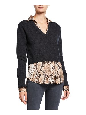 Neiman Marcus Cashmere Collection Snake-Print Layered Cashmere Sweater