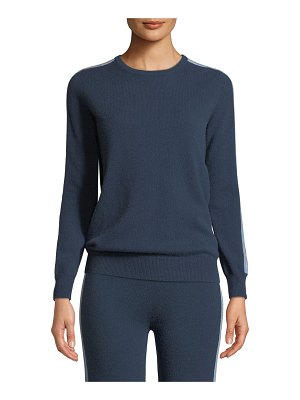 Neiman Marcus Cashmere Collection Sporty Cashmere Pullover Sweater with Racer Stripes