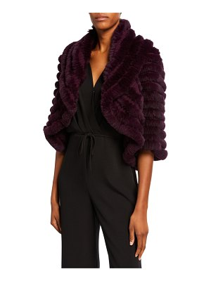 Neiman Marcus Cashmere Collection Striped Fur & Cashmere Shrug