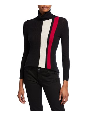 Neiman Marcus Cashmere Collection Striped Turtleneck Ribbed Pullover Sweater