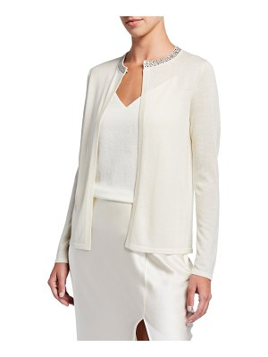 Neiman Marcus Cashmere Collection Super Fine Crystal Trim Long-Sleeve Open Shrug