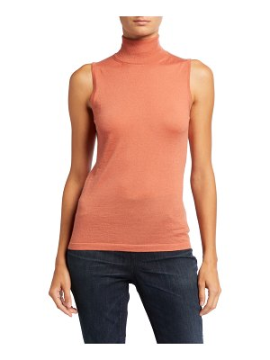 Neiman Marcus Cashmere Collection Superfine Cashmere Sleeveless Turtleneck Sweater