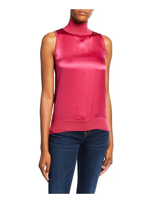 Neiman Marcus Cashmere Collection Twofer Sleeveless Cashmere & Silk Turtleneck Sweater