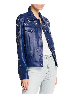 Neiman Marcus Leather Collection Leather Crystal Motorcycle Jacket