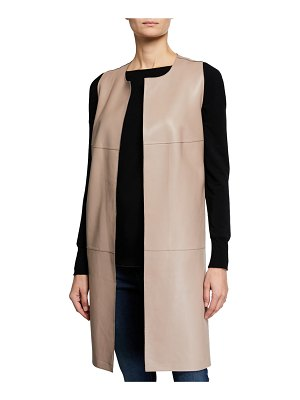 Neiman Marcus Leather Collection Long Paneled Leather Vest
