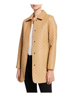 Neiman Marcus Leather Collection Quilted Leather Trenchcoat