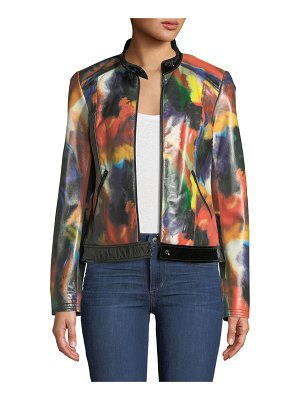 Neiman Marcus Leather Collection Rainbow-Print Leather Moto Jacket