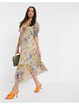 Neon Rose maxi dress with tiered skirt and ruffle frill in vintage floral-white