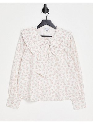 Neon Rose relaxed blouse with pussybow in vintage floral-white