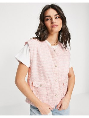 Neon Rose relaxed coordinating vest with ornate buttons in pastel boucle-pink