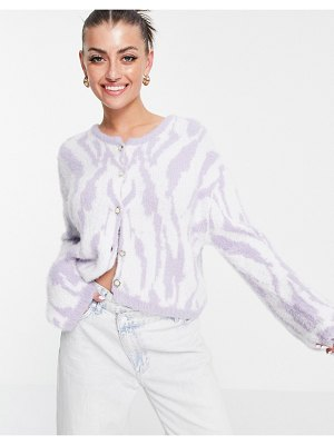 Neon Rose relaxed fluffy cardigan with ornate buttons in pastel zebra knit-purple