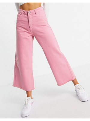 Neon Rose relaxed wide leg jeans with raw edge in bright pink denim set