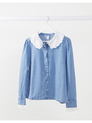 Neon Rose shirt with embroidered collar in denim mix-blue