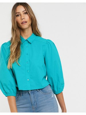 Neon Rose vintage blouse with balloon sleeves-green