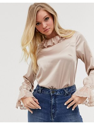 Neon Rose vintage blouse with lace collar and cuffs-cream