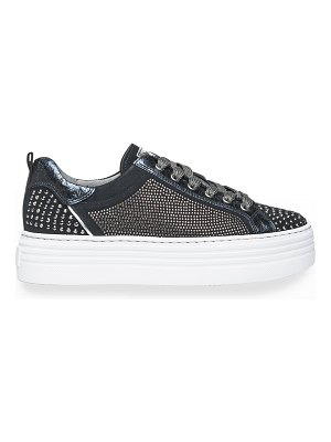 NEROGIARDINI Studded Mixed Leather Skater Sneakers