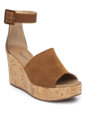 NEROGIARDINI Suede Cork Wedge Sandal with Ankle Strap