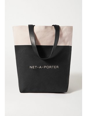 NET-A-PORTER BEAUTY + loeffler randall leather-trimmed two-tone cotton-canvas tote