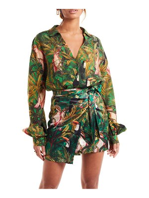 Never Fully Dressed green parrot button-up shirt
