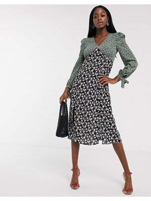 Never Fully Dressed long sleeve contrast midi dress in multi floral