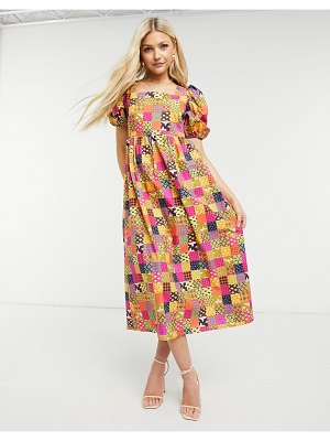 Never Fully Dressed puff sleeve smock midi dress in patchwork print-multi