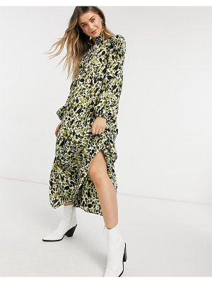 Never Fully Dressed tiered smock top midi dress in green smudge print
