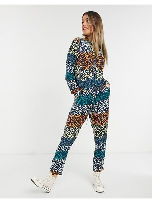 Never Fully Dressed wrap tie roll sleeve jumpsuit in mixed spot print-multi