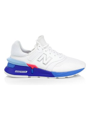 New Balance lace-up mesh & leather sneakers