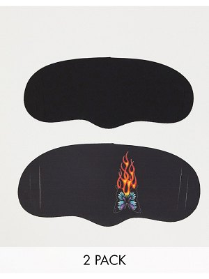 New Girl Order black face covering with butterfly flame graphic 2 pack