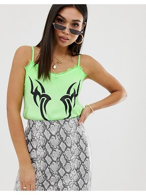New Girl Order cami top with lace trim and tattoo print in neon-green
