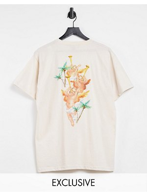 New Girl Order exclusive oversized 'paradise beach' t-shirt in cream-white