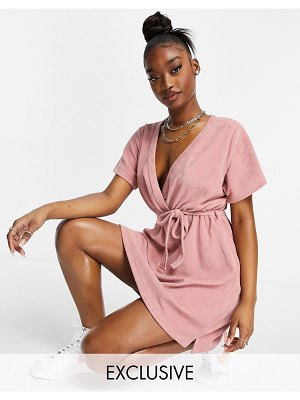 New Girl Order exclusive terrycloth wrap mini dress in blush pink