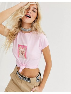 New Girl Order fitted t-shirt with reassuring dog graphic-pink