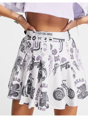 New Girl Order mini pleated skirt with all over graphics-white