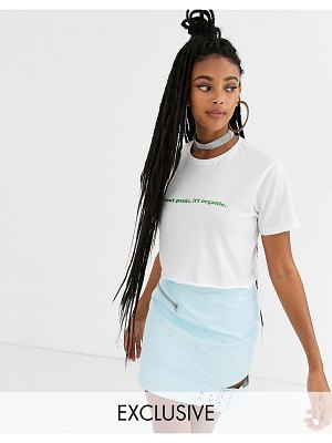 New Girl Order oversized cropped t-shirt in organic cotton with slogan-white