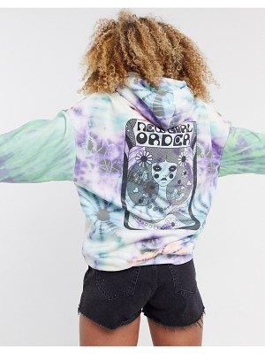 New Girl Order oversized hoodie in tie dye with back graphic-multi