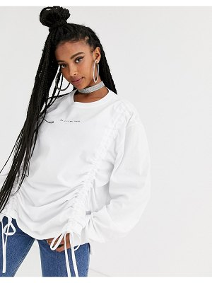 New Girl Order oversized long sleeve t-shirt with rouched front & contrast graphics two-piece-brown