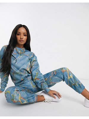 New Girl Order oversized sweatshirt in marble print two-piece-blue