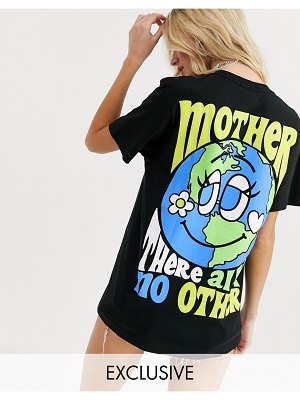 New Girl Order oversized t-shirt in organic cotton with mother earth graphic-black
