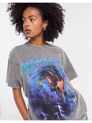 New Girl Order oversized t-shirt in washed gray with grunge graphic