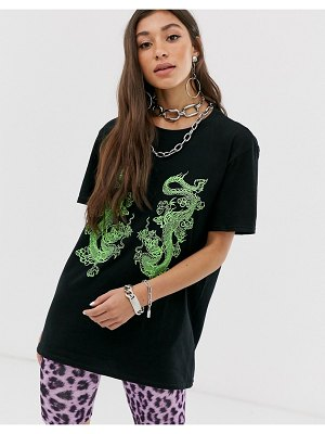 New Girl Order oversized t-shirt with dragon graphic-black