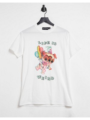 New Girl Order oversized t-shirt with 'life is weird' graphic-white