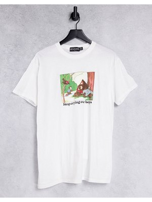 New Girl Order oversized t-shirt with stop crying over boys graphic in white