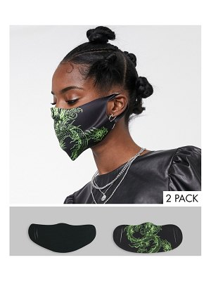 New Girl Order pack of 2 face coverings in dragon print-multi
