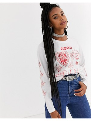 New Girl Order relaxed long sleeve t-shirt with good fortune graphic-white